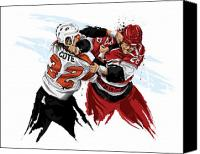 Sports Art Canvas Prints - Flyers Enforcer Riley Cote Canvas Print by David E Wilkinson