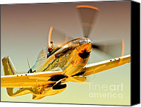 Sports Prints Canvas Prints - Flyin Golden Boeing North American P-51D Mustang and Brant Seghetti   Canvas Print by Gus McCrea