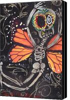 Sugar Skull Painting Canvas Prints - Flying Away Canvas Print by  Abril Andrade Griffith