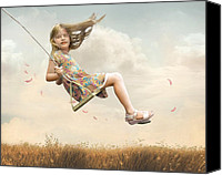 Fun Mixed Media Canvas Prints - Flying Canvas Print by Joel Payne