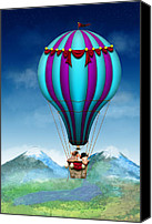 Hot Pink Custom Canvas Prints - Flying Pig - Balloon - Up up and Away Canvas Print by Mike Savad