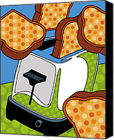 Kitchen Canvas Prints - Flying Toast Canvas Print by Ron Magnes