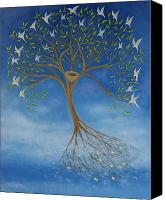 Blue Leaf Canvas Prints - Flying Tree Canvas Print by Tone Aanderaa