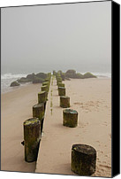 Pilings Canvas Prints - Fog Sits On Bay Head Beach - Jersey Shore Canvas Print by Angie McKenzie