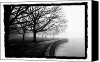 Benches Pyrography Canvas Prints - Foggy Day H-1 Canvas Print by Mauro Celotti