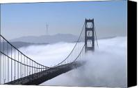 Golden Gate Canvas Prints - Foggy Golden Gate Bridge Canvas Print by Chuck Kuhn