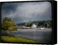 Barge Canvas Prints - Foggy Morning at the Barge Harbor Canvas Print by Al  Mueller