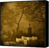 Halloween Scene Canvas Prints - Foggy Necropolis Canvas Print by Gothicolors With Crows
