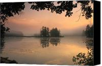 Harvard Canvas Prints - Foggy Summer Sunrise at Harvard Pond Canvas Print by John Burk