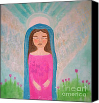 Folksy Canvas Prints - Folk Angel The Gaurdian Canvas Print by Sacred  Muse