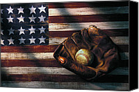 Still Life Canvas Prints - Folk art American flag and baseball mitt Canvas Print by Garry Gay