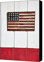 Red White Blue Canvas Prints - Folk art American flag on wooden wall Canvas Print by Garry Gay