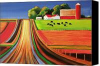 Barns Canvas Prints - Folk Art Farm Canvas Print by Toni Grote