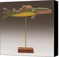 Beaches Reliefs Canvas Prints - Folk Art Fish Canvas Print by James Neill