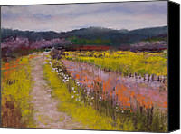 Pastel Landscape Canvas Prints - Follow the Daisies Canvas Print by David Patterson