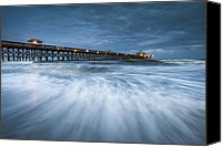 Lowcountry Canvas Prints - Folly Beach Blues - Folly Beach Pier Charleston SC Canvas Print by Dave Allen