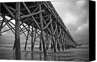 White Seagull Canvas Prints - Folly Beach Pier Black and White Canvas Print by Dustin K Ryan