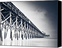 Wave Pyrography Canvas Prints - Folly Beach Pier Canvas Print by Donni Mac