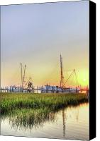 Low Country Canvas Prints - Folly Fishing Boats  Canvas Print by Drew Castelhano