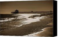 Wave Canvas Prints - Folly Pier Sunset Canvas Print by Drew Castelhano