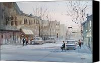 Architecture Painting Canvas Prints - Fond du Lac - Downtown Canvas Print by Ryan Radke