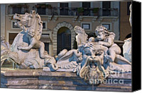 Fontain Canvas Prints - Fontana del Nettuno II Canvas Print by Fabrizio Ruggeri