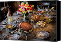 Setting Canvas Prints - Food - Easter Dinner Canvas Print by Mike Savad
