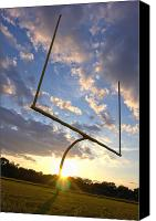 American Canvas Prints - Football Goal at Sunset Canvas Print by Olivier Le Queinec
