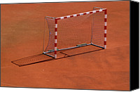  Goal Canvas Prints - Football Net On Red Ground Canvas Print by Daniel Kulinski