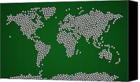 Geography Canvas Prints - Football Soccer Balls World Map Canvas Print by Michael Tompsett