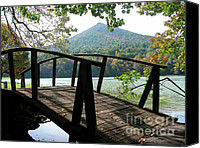 Otter Photo Canvas Prints - Footbridge Peaks of Otter Canvas Print by Thomas R Fletcher