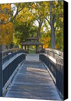 Octagonal Canvas Prints - Footbridge to Gazebo Canvas Print by Thom Gourley/Flatbread Images, LLC