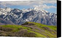 Snow Capped Canvas Prints - Foothills Above Salt Lake City Canvas Print by Utah Images