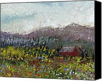 Landscapes Pastels Canvas Prints - Foothills Meadow Canvas Print by David Patterson