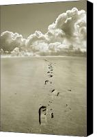Wide Canvas Prints - Footprints in sand Canvas Print by Mal Bray