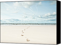 Outdoors Canvas Prints - Footprints Leading Into Sea Canvas Print by Dune Prints by Peter Holloway