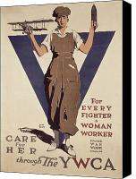 Campaign Canvas Prints - For Every Fighter a Woman Worker Canvas Print by Adolph Treidler 