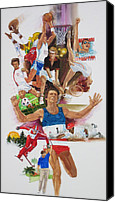 Gymnastics Painting Canvas Prints - For Love of the Games Canvas Print by Chuck Hamrick