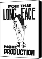 Caricature Mixed Media Canvas Prints - For That Long Face More Production Canvas Print by War Is Hell Store
