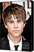 Celebrity Mixed Media Canvas Prints - For the Belieber in You Canvas Print by The DigArtisT