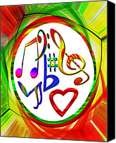 Susan Leggett Digital Art Canvas Prints - For the Love of Music Canvas Print by Susan Leggett