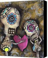 Sugar Skull Painting Canvas Prints - For You Canvas Print by  Abril Andrade Griffith