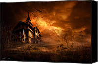 Dark Canvas Prints - Forbidden Mansion Canvas Print by Svetlana Sewell