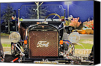 Ford Hot Rod Canvas Prints - Ford Black Hot Rod Old School Canvas Print by Pictures HDR