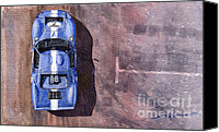 Blue Ford Canvas Prints - Ford GT40 Leman Classic Canvas Print by Yuriy  Shevchuk