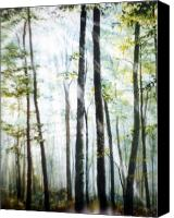 Snowy Landscape Painting Canvas Prints - Forest Sentinels Canvas Print by Hanne Lore Koehler