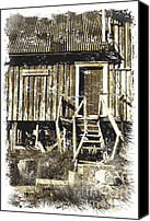 Impressionism Digital Art Canvas Prints - Forgotten Wooden House Canvas Print by Heiko Koehrer-Wagner