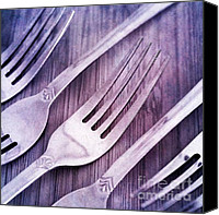 Flatware Canvas Prints - Forks Canvas Print by Priska Wettstein