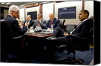 Meetings Canvas Prints - Former President Clinton Briefs Canvas Print by Everett