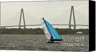 Ravenel Bridge Canvas Prints - Formula 18 Sailing Cat Big Booty Charleston SC Canvas Print by Dustin K Ryan